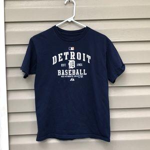 Majestic boy's navy&white Detroit baseball shirt